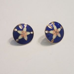 Jewelry - Gold Tone Sand Dollar Earrings Blue And White Enam